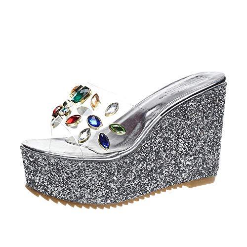 El secado rápido punta abierta zapatos de la casa, la cuña de talón flip flop transparentes, de colores sandalias y zapatillas de diamantes de imitación-silver_38, bajo la cuña del dedo del pie del re