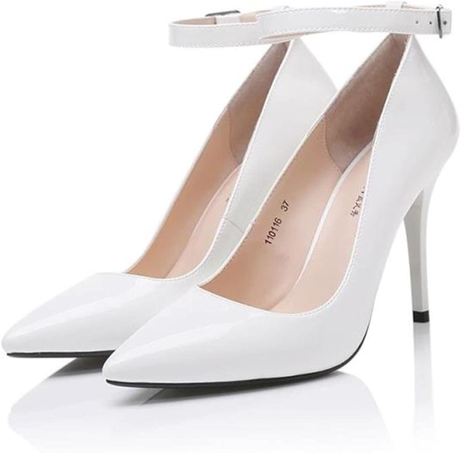 Mesurn Women's shoes - Europe and The United States Sexy Super high-Heeled 10cm 12cm - White fine with Fashion Pointed Professional White-Collar shoes Heeled Sandals
