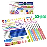 Techtest Crochet Hook Set,53pcs Ergonomic Knitting Needle Kit Knit Needle Set Organizer