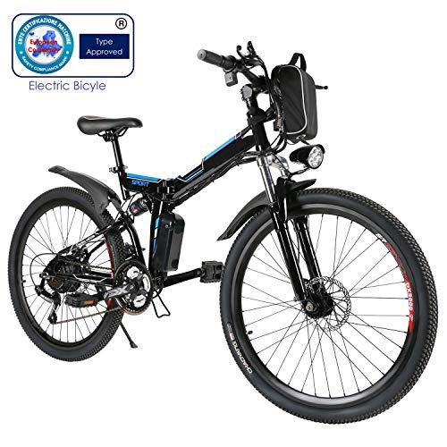 Speedrid Vélo de Montagne Pliable pour vélo électrique, 26/20 pneus Vélo électrique pour vélo Ebike avec Moteur sans Balai de 250 W et Batterie au Lithium 36V 8Ah Shimano 21/7 Vitesses
