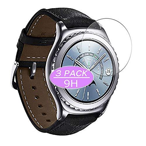 VacFun 3 Piezas Vidrio Templado Protector de Pantalla, compatible con Samsung Gear S2 classic, 9H Cristal Screen Protector Protectora Reloj Inteligente NEW Version