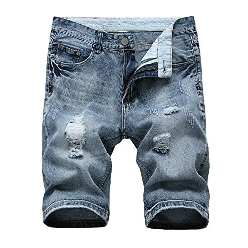 Herren Jeans Shorts Zerrissene Jeans Kurze Hosen Sommer Freizeit gerade Bermuda Jeans(grau Blau,L)