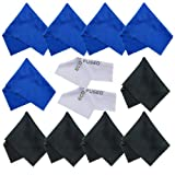 ECO-FUSED® 12 Piece Pack of Microfiber Cleaning Cloths for use with Cell Phone, Tablets, Laptops, Glasses, Lenses and Other Delicate Surfaces - One Year Guarantee (blue / black) …