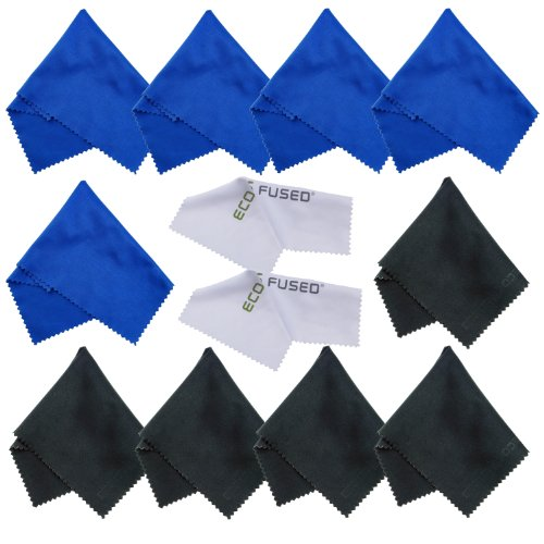 Price comparison product image Eco-Fused Microfiber Cleaning Cloths- 12 Pack - Ideal for Cleaning Glasses,  Spectacles,  Camera Lenses,  iPad,  Tablets,  Phones,  iPhone,  Android Phones,  Laptops,  LCD Screens and Other Delicate Surfaces