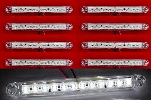 8 pièces 24 V 12 LED Blanc Marqueur Côté avant LED pour camion remorque Caravane