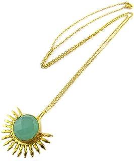 Les Trésors De Lily [P2300] - Placcato in oro a mano collana 'Princesse Ottomane' verde-oro.