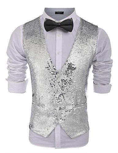 COOFANDY Men's Fashion Shiny Sequins Vests Halloween Christmas Slim Fit Stitching Vest(Silver, M)