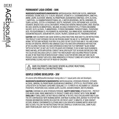 AGEbeautiful permanente Liqui-crème Haircolor 5NN medio intenso marrón con 20 volúmenes desarrollador, 4 onzas
