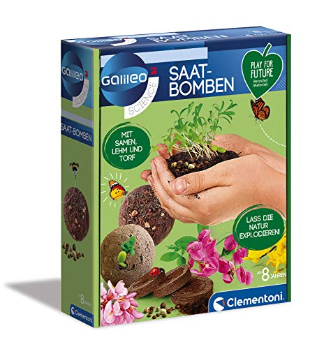 Clementoni 59206 Galileo Play for Future - Bombas de Semillas, Caja de experimentos para pequeños jardineros, botánicos y biología para niños a Partir de 6 años, Ciencia para el hogar, Pascua