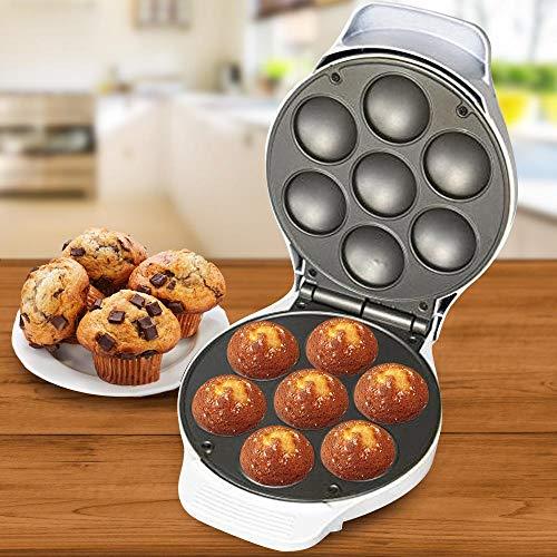 Bakaji Macchina Piastra per Muffin e Cupcake Piastre Antiaderenti con Stampini 7 Stampi Con Spia Luminosa Cottura e Piedini Antiscivolo Party e Feste