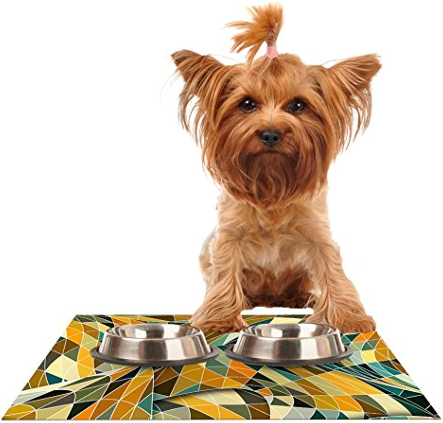 Kess InHouse Danny Ivan Bring You Back  Yellow Teal Feeding Mat for Pet Bowls, 24 by 15Inch