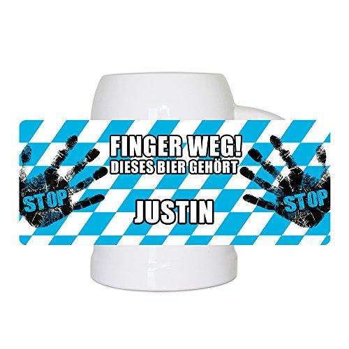 Lustiger Bierkrug mit Namen Justin und schönem Motiv Finger weg! Dieses Bier gehört Justin   Bier-Humpen   Bier-Seidel