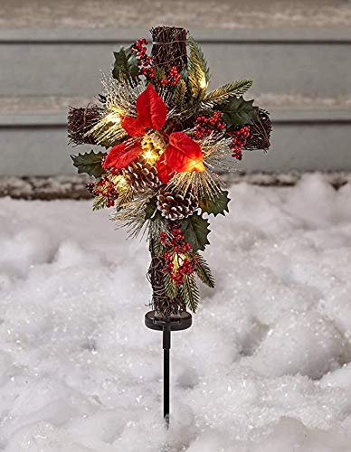 The Lakeside Collection Solar Lighted Christmas Cross Stake with Faux Pine Cones and Foliage