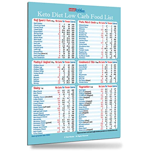"""Best Designed Keto Diet Magnetic Cheat Sheet Top 100 Low Carb Foods All-In-One Magnet 8""""x11"""" Grocery List Chart Cookbooks Guide Accurate Net Carbs Calories Weight Loss Cooking Accessories Gift"""