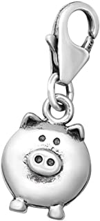 Pig Charm with Lobster Clasp Sterling Silver for Charm Bracelet or Necklace (E5447)