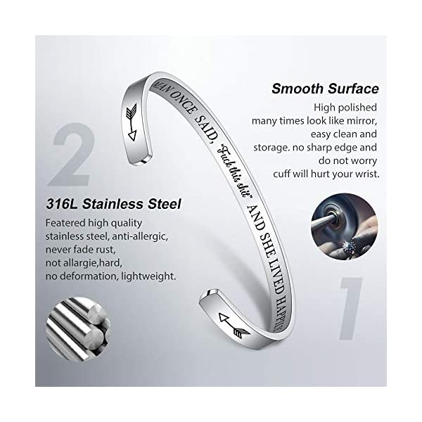 M MOOHAM Birthday Gifts for Her Women – Engraved Funny Quote Stainless Steel Cuff Bangle Bracelet Jewelry 16th 21st 30th 40th 50th 60th 70th 80th Birthday Gifts, Funny Retirement Gifts for Women