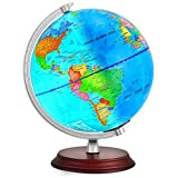 TTKTK Illuminated World Globe for Kids with Wooden Stand,Built in LED for Illuminated Night View Globe lamp...