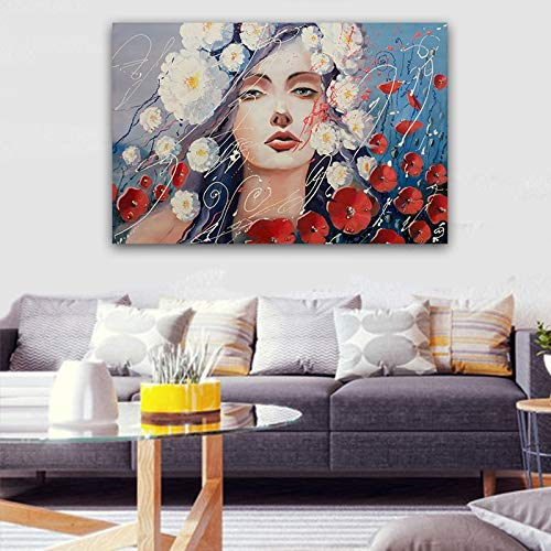 Canvas Wall Art Print Flower girl poster andliving room home decor60x90cmFrameless painting