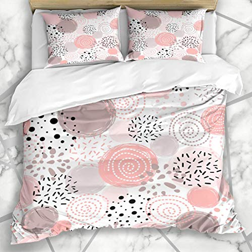 Soefipok Set copripiumini Ball Pink Baby Cute Pattern Polka DOT Abstract Compleanno Black Blush Christmas Design Love Microfiber Biancheria da Letto con 2 Pillow Shams