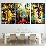 N / A Peinture sans Cadre Toile Art Print Affiche modulaire Photos 3 Ensembles de Paysage Abstrait rétro Chambre décoration de la maisonCJX1603 60x80cmx3