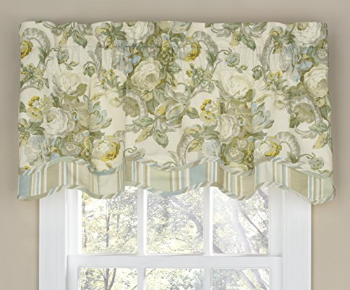 """Waverly Valances for Windows - Spring Bling 52"""" x 18"""" Short Curtain Valance Small Window Curtains Bathroom, Living Room and Kitchens, Platinum"""