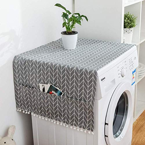MF2FLAY Fridge Dust Proof Cover Multi-Purpose Washing Machine Top Cover with Refrigerator Storage Organizer Bags - Grey