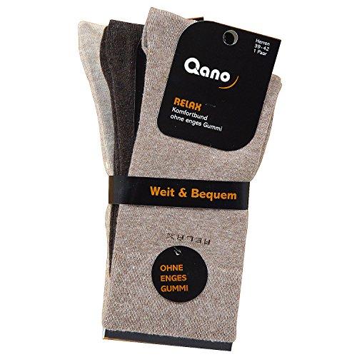 Qano Relax ohne enges Gummi klassische Herren Business - & Freizeit Socken Braun - Beigetöne im 3er Pack (43/46, Braun)
