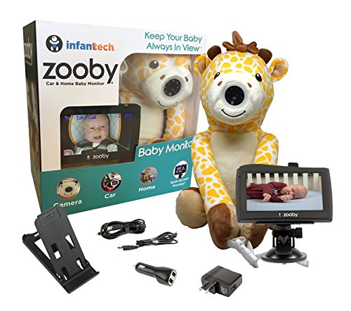 "Infanttech Wireless Zooby 4.3"" Portable Video and Audio Baby Monitor for Car, Home, Nursery, Backyard – Hidden in a Cuddly Plush Toy Kids Love, Gives You Eyes in the Back of Your Head, Giraffe"