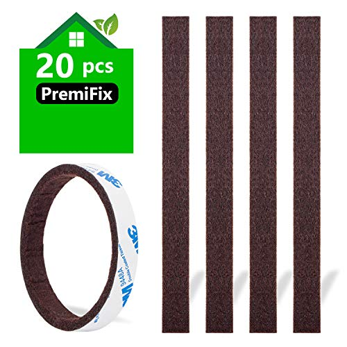 Felt Strips 20Pieces Pack 1/2'x 6' Self Adhesive Brown Furniture Felt Strips Anti Scratch Heavy Duty 5mm Thick Floor Protector for Rocking Chair for Hardwood Floor