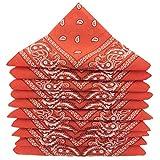 KARL LOVEN Lot de bandanas 100% Coton paisley foulard fichu bandana 25 couleurs au choix - Lot 5/10 / 20 (Lot de 5 Différents, Orange Foncé)