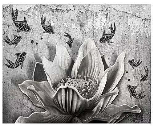 Fotobehang 3D Retro beton achtergrond muur plant bloem dier vis PVC zelfklevend decoratie huis slaapkamer woonkamer eetkamer muur 350(w)x256(H)cm
