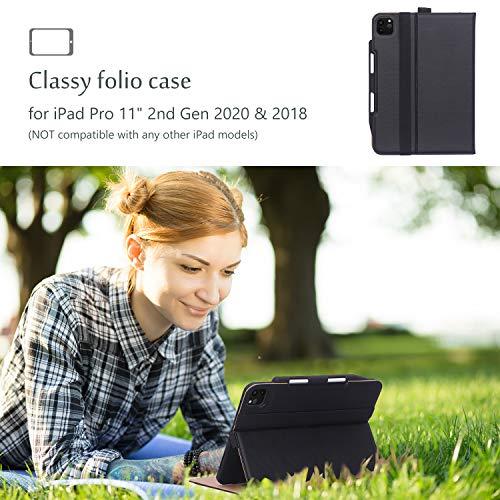 ProCase Hülle mit Stifthalter für iPad Pro 11 Zoll 2nd Gen 2020, Lederhülle Schutzhülle mit Kartenfach Multi Blickwinkel,Premium PU Ledertasche Folio Ständer Case Cover iPad Pro 11 –Schwarz