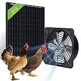 Pumplus 60W Greenhouse Solar Fan Kit, 60W Solar Panel & 12VWh Battery, Solar Powered Fan for Attic/Shed/Chicken Coop -DELIVERY IN 2 PARCELS