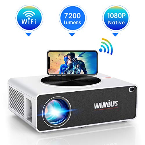 "Projector, WiMiUS K3 7200 Lux WiFi Projector Native 1920x1080 Indoor and Outdoor Projector Support 300"" Display Netflix Dolby Works with Fire TV Stick PC DVD PS4 Smartphones (White)"