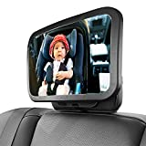 Macally Baby Mirror for Car Seat Rear Facing - Wide Head to Toe View - Shatterproof, Safe, and Secure Baby Car Seat Mirror - 360° Adjustability and Installs in Seconds - Back Seat Mirror for Infants