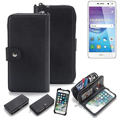 K-S-Trade 2in1 Handyhülle Für Huawei Y6 2017 Single SIM Schutzhülle und Portemonnee Schutzhülle Tasche Handytasche Hülle Etui Geldbörse Wallet Bookstyle Hülle Schwarz (1x)