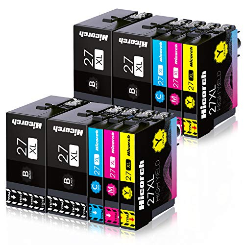 Hicorch 27XL Druckerpatronen Ersatz für Epson 27 XL Kompatible mit Epson Workforce WF-3620 WF-3640 WF-7110 WF-7210 WF-7610 WF-7620 WF-7710 WF-7715 WF-7720 (4 Schwarz, 2 Cyan, 2 Magenta, 2 Gelb)