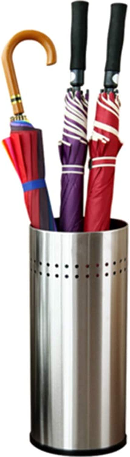 Zr Stainless Steel Features Stylish Cylindrical Umbrella Stand Household Company Large Capacity Storage Bucket (Material   A)