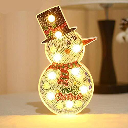 Veilleuse Décoration De Noël Bonhomme De Neige Arbre De Noël Bricolage Forme Spéciale Brique Diamant Peinture Modélisation Lampe Led
