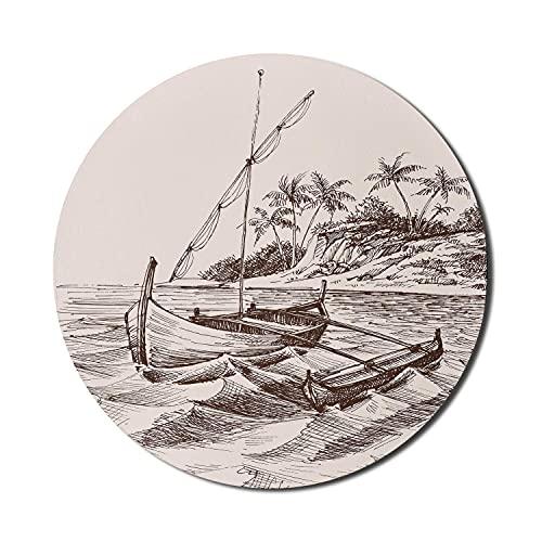 Boot Mauspad für Computer, detaillierte Handzeichnung Skizze von Beibootsegeln und ein Kanu an einem Ufer, Runde rutschfeste dicke Gummi Modern Gaming Mousepad, 8 \'Runde, Champagner Schokolade