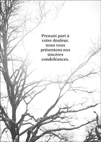 Moderne troostende Franse rouwkaart met foto motief: Prenant part à votre douleur, nous vous présentons nos sincères condoléances. • Mooie deelname togende premium uitklapbare kaart om te condoleren bij sterfgeval