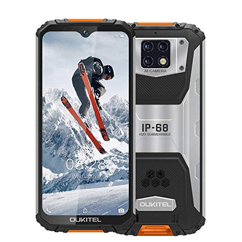 OUKITEL WP6 Outdoor Smartphone Ohne Vertrag, 6,3 Zoll FHD + Handy,10000 mAh Akku IP68 Robustes Smartphone, 48 MP Quad-Kamera, Helio P70 6 GB + 128 GB, Dual SIM (orange)