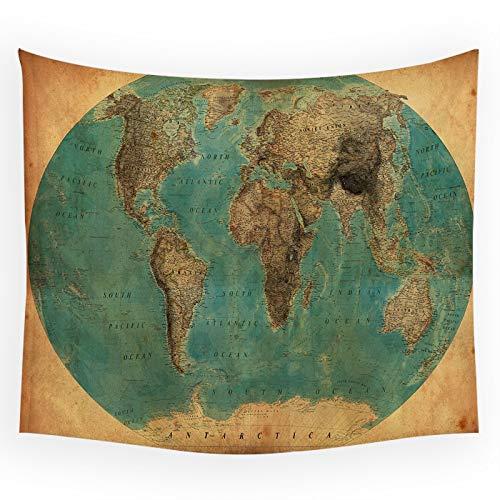 KHKJ Mapa del Mundo Tapiz de Pared Shabby Chic Manta para Colgar en la Pared Mapa de Paisaje turístico Decoración Decoraciones para el hogar Tapiz de Dormitorio A19 95x73cm