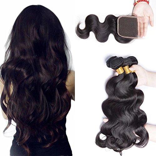 Lot de 3 mèches de cheveux brésiliens Maxine, épais, ondulés, cheveux naturels vierges 9A avec attache, couleur : noir