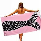 BELIFEGLORY Microfiber Absorbent Quick Dry Pink Mermaid Tail Beach Towel Blanket Bath Towel for Women Men Girls Boys 30 X 60 Inches