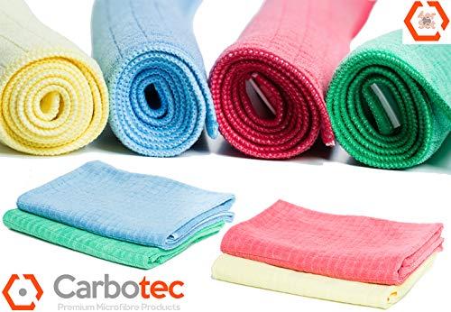CARBOTEC® 4X Premium Microfaser Geschirrtücher - unfassbare Aufnahmekapazität- fusselfreie Mikrofasertücher in Gastro-Qualität - Poliertuch aus Mikrofaser - Putztuch/Waffeltuch- 65x45cm