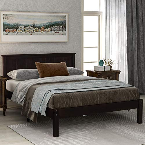 Classic Wood Platform Bed with Headboard, Wood Slat, No Box Spring Needed (Espresso, Queen)