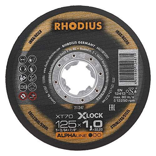 RHODIUS extra dünne INOX Trennscheiben Metall XT70 X-LOCK Ø 125 x 1,0 mm für Winkelschleifer Metalltrennscheibe 25 Stück