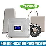 Tri Band señal móvil repetidor 2G 3G 4G gsm 900 / DCS LTE 1800 / WCDMA UMTS 2100MHz Amplificador de señal Celular Amplificador Conjunto