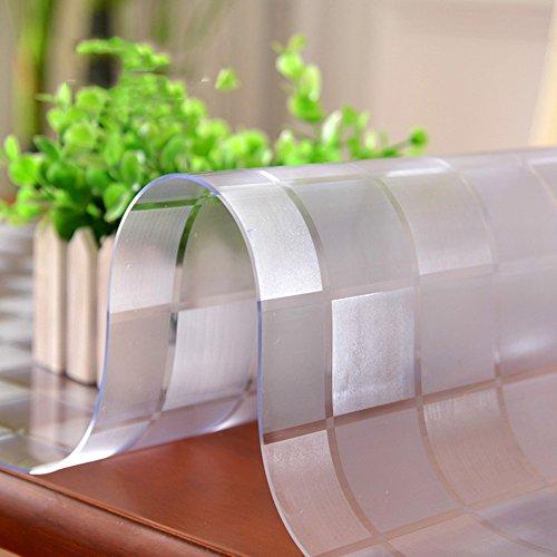 HM&DX Gefrostet Transparent Tischdecken Wasserdicht PVC Tabelle beschützer Abwaschbar Weiches Durchsichtige Tisch Decken Tuch Abdeckung für Kaffee, wohnküche-Kariert 70x120cm(28x47inch)